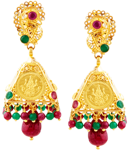Lakshmi red, green bead jhumki