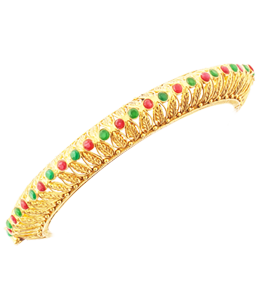 Bengali fancy bangle with red and green stones