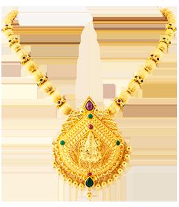 Coorgi ball with lakshmi pendant necklace