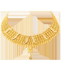 gold chokar with ball hanging